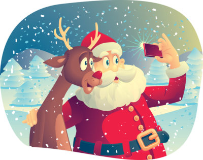 Vector cartoon of Santa Claus and his best friend taking a Christmas picture together. File type: vector EPS AI8 compatible. No transparencies, only compatible gradients.